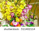 Small photo of Multi-colored flower vases(Image-oriented focus at some point).