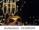 masquerade mask and champagne. | Shutterstock . vector #511403134