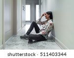 depressed woman sitting on the... | Shutterstock . vector #511403344