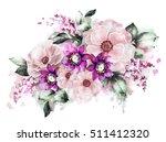 watercolor flowers. floral...   Shutterstock . vector #511412320