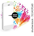 mobile phone icon with abstract ... | Shutterstock .eps vector #511419160