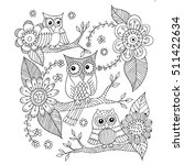 owls with flower and butterfly... | Shutterstock .eps vector #511422634