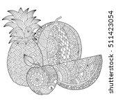 vector hand drawn pineapple ... | Shutterstock .eps vector #511423054