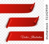 set of red curved paper blank... | Shutterstock .eps vector #511429549
