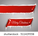 set of red curved paper merry...