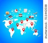 logistics concept with world... | Shutterstock .eps vector #511442038