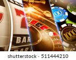 Lucky Casino Games Concept Illustration. Roulette, Slots and Casino Chips. - stock photo