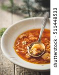 red soup  first course | Shutterstock . vector #511448533