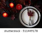 Autumn Table Setting On Black...