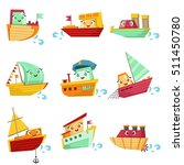 toy boats with faces colorful... | Shutterstock .eps vector #511450780