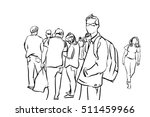 people walking pen and ink... | Shutterstock . vector #511459966