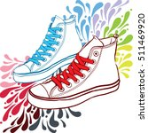 shoes white sneakers with red... | Shutterstock .eps vector #511469920
