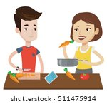 couple cooking together fresh... | Shutterstock .eps vector #511475914