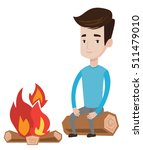 travelling man sitting on a log ... | Shutterstock .eps vector #511479010