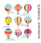 vector hot air balloon set.    Shutterstock .eps vector #511482676
