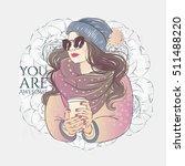 beautiful hipster young women... | Shutterstock .eps vector #511488220
