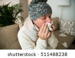 person with cold blowing his... | Shutterstock . vector #511488238