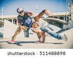 two bboys doing some stunts  ... | Shutterstock . vector #511488898