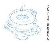 pot of hot soup. pot of hot... | Shutterstock .eps vector #511491913