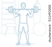 sporty man lifting a heavy... | Shutterstock .eps vector #511492000
