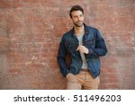 smiling trendy guy with blue... | Shutterstock . vector #511496203