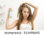 beautiful young girl applying... | Shutterstock . vector #511498693