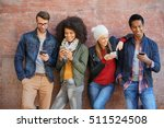 friends leaning on brick wall ... | Shutterstock . vector #511524508