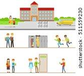 school building exterior and...   Shutterstock .eps vector #511559230