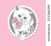 Stock vector white scottish kitten with striped bow on a pink polka dot background vector illustration 511566394