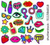 colorful fun set of girl's... | Shutterstock .eps vector #511586818