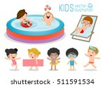 set of kids in a swimming pool  ... | Shutterstock .eps vector #511591534