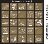 christmas advent calendar with... | Shutterstock .eps vector #511595518
