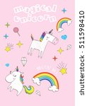cute magic with unicorn | Shutterstock .eps vector #511598410