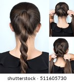 simple hairstyle twisted plait... | Shutterstock . vector #511605730