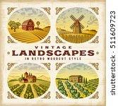 vintage colorful landscapes set....   Shutterstock .eps vector #511609723