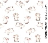 Stock photo seamless pattern with watercolor rabbits hand drawn isolated on a white background 511618324