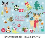 cute animals and christmas... | Shutterstock .eps vector #511619749