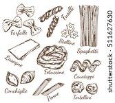 sketch pasta types decorative... | Shutterstock .eps vector #511627630