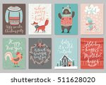 christmas card set  hand drawn... | Shutterstock .eps vector #511628020