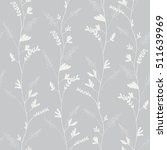 Seamless pattern of elegant design blue flower silhouette