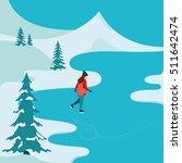girl skating in winter outdoors.... | Shutterstock .eps vector #511642474