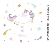 cute hand drawn unicorn on the... | Shutterstock .eps vector #511666678