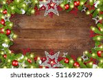 christmas xmas old rustic oak... | Shutterstock . vector #511692709