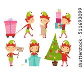 santa claus kids cartoon elf... | Shutterstock .eps vector #511693099
