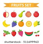 Fruits And Berries Icon Set....