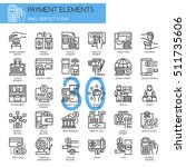 payment elements   thin line... | Shutterstock .eps vector #511735606