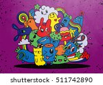hipster hand drawn crazy doodle ... | Shutterstock .eps vector #511742890