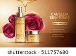 camellia skin toner contained in sprayer bottle and cosmetic jar, golden background, 3d illustration | Shutterstock vector #511757680