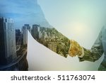 double exposure of two business ... | Shutterstock . vector #511763074