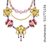 necklace of pink  gold  black... | Shutterstock .eps vector #511771156